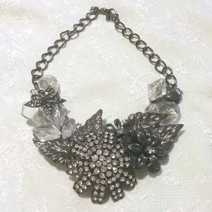 Silver Tone Rhinestone Floral Cluster Necklace